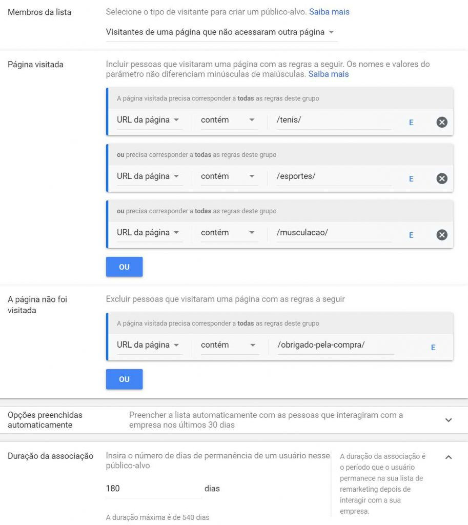 Público de Remarketing  no Google Ads