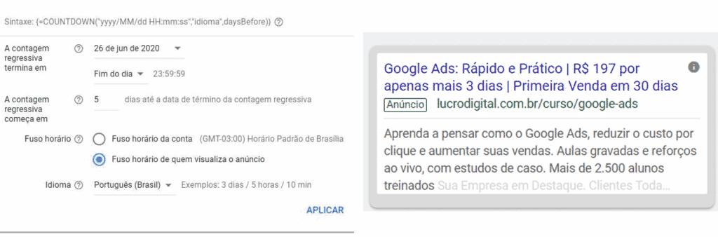 Contagem regressiva no Google Ads