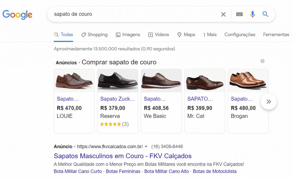 Acima vemos dois tipos de publicidade gerada pelo Google Ads: a lista de produtos e o resultado de pesquisa