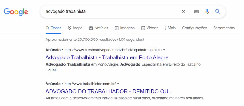 Exemplo de Anúncio do Google Ads na Rede de Pesquisa